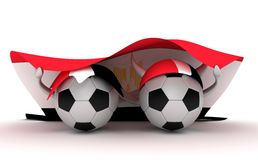 Two soccer balls hold Egypt flag Stock Photo