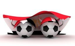 Two Soccer Balls Hold Egypt Flag Stock Photo