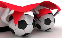 Two Soccer Balls Hold Egypt Flag Royalty Free Stock Images