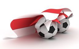 Two Soccer Balls Hold England Flag Stock Photo