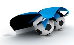 Two soccer balls hold Estonia flag Royalty Free Stock Photography