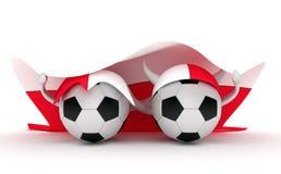 Two soccer balls hold Poland flag Royalty Free Stock Photos