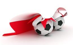 Two soccer balls hold Poland flag Stock Photos