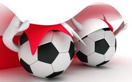 Two soccer balls hold Poland flag Stock Image
