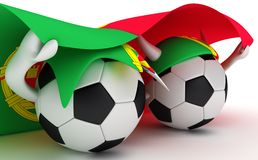 Two soccer balls hold Portugal flag Royalty Free Stock Image