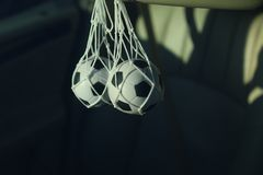 Accessory for the car in the form of a soccer ball royalty free stock images