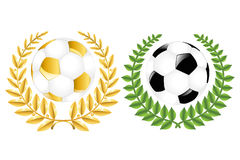 Two Soccer Balls With Wreathes. Vector Stock Photos