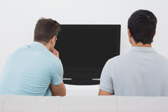 Two soccer fans watching tv. Rear view of two soccer fans watching tv Royalty Free Stock Image