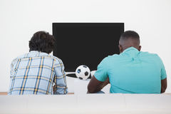 Two soccer fans watching tv. Rear view of two soccer fans watching tv Stock Image
