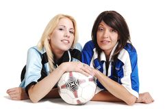 Two soccer girls wit ball. Stock Image