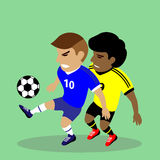 Two soccer players fighting for a ball Royalty Free Stock Photos
