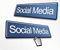 Two Social Media Buttons. With a Hand Cursor Clicking Stock Illustration
