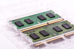 Two SODIMM memory modules in protective packaging royalty free stock photography