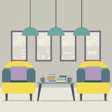 Two Sofas With Books On Table. Vector Illustration Royalty Free Stock Images