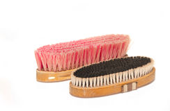 Two soft brushes for grooming horses Stock Images