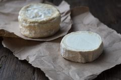 Two Soft french cheese of camembert and other types. Two soft round cheese head on paper, rustic natural wooden background royalty free stock photography