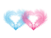 Two soft hearts shaped by feathers Royalty Free Stock Photos