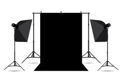Two softboxes and black photo background. Stock Photo