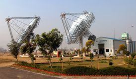 Two Solar Dish At HVAC Plant Royalty Free Stock Photography