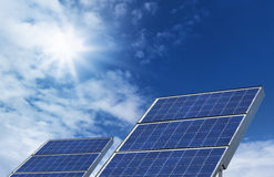 Two solar panels blue sky Royalty Free Stock Photo