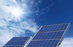 Two Solar Panels Blue Sky Royalty Free Stock Photo