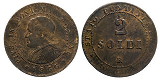Two 2 Soldi Copper Coin 1866 pope Pio IX papal state. Mint of Rome, pontiff Pio IX Head of Front, Value on Back Stock Photography