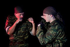Two soldiers fighting Royalty Free Stock Photo
