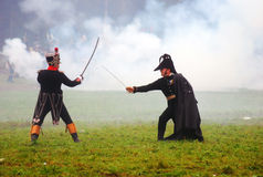 Two soldiers fighting in the fume Stock Photography