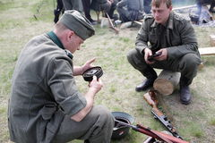 Two soldiers in German uniform Stock Photos