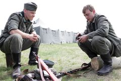 Two soldiers in German uniform Stock Image
