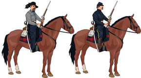 Two Soldiers on Horses from American Civil War Royalty Free Stock Photography