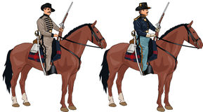 Two Soldiers on Horses from American Civil War Royalty Free Stock Photos