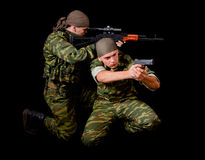 Two Soldiers In Camouflage Uniform With Weapon Royalty Free Stock Photo