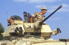 Two Soldiers in Military Tank Stock Photos