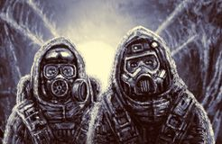 Two soldiers in protective suits. royalty free stock images