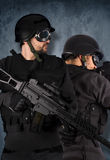 Two soldiers, swat and police concept Stock Images