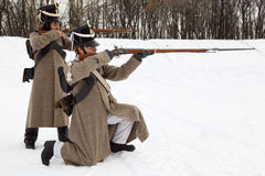 Two soldiers take aim at historical reconstruction Royalty Free Stock Photos