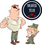 Two soldiers talking to each other vector illustration Stock Image