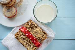 Two sorts of cookies with glass of milk Stock Images