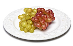 Two sorts of grapes, freshly washed Royalty Free Stock Images