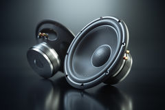 Two sound speakers on black background Stock Image