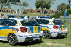 Two South African Police Cars next to each other Stock Image