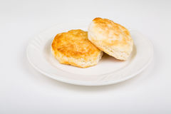 Two Southern Biscuits on a White Plate Royalty Free Stock Photos