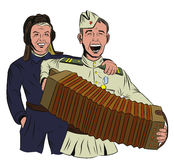 Two Soviet soldiers sing and play the accordion Stock Photo