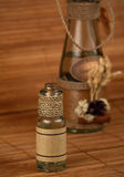 Two spa decorated oil bottles. At brown bachground Royalty Free Stock Photos