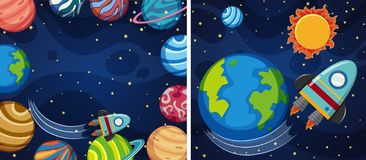 Two space background with planets and rocket Stock Photo