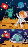 Two space scenes with aliens and astronaut. Illustration Stock Photo