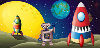 Two spaceships and a robot in the outer space Royalty Free Stock Image