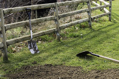 Two spades on  grass ready to prepere the land Stock Images