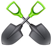 Two spades with green handle Stock Images